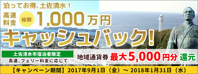 Night is discount, Tosashimizu! ETC, high speed, ferry fare a total of 10 million yen cashback campaign / Tosashimizu-shi, Kochi